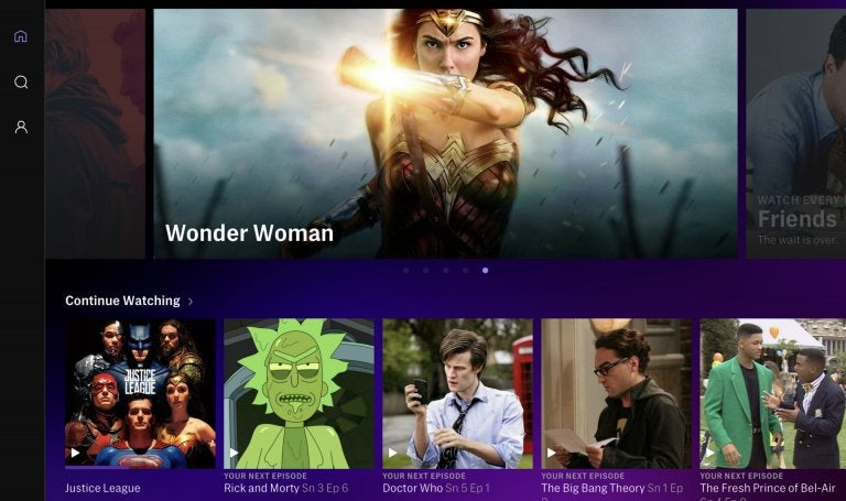 Screenshot of the HBO Max menu including Wonder Woman movie poster