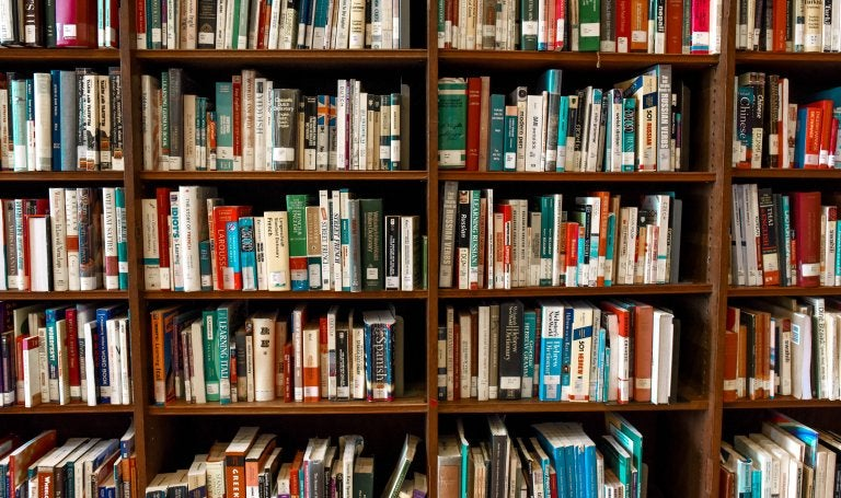 book shelves full of books