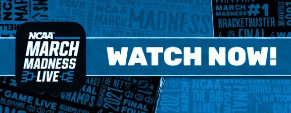 march madness live logo with large text that says watch now!