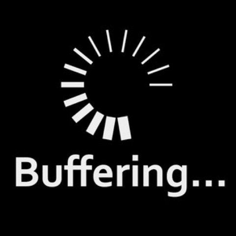 "shows buffering symbol with the word ""buffering"""