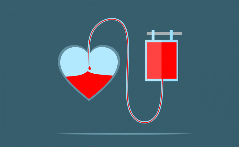 Illustration of donated blood bag leading an IV to a heart